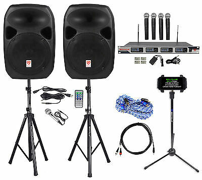 "Rockville Pro Dual 12"" Laptop/iphone/ipad/Android/Tablet Karaoke Machine/System"