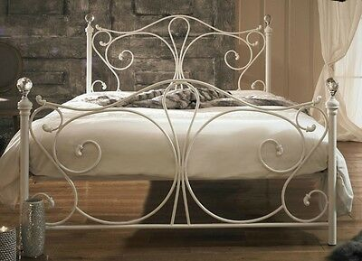 Antique French Metal Bed Frame Victorian Style White Double Size Bed Vintage