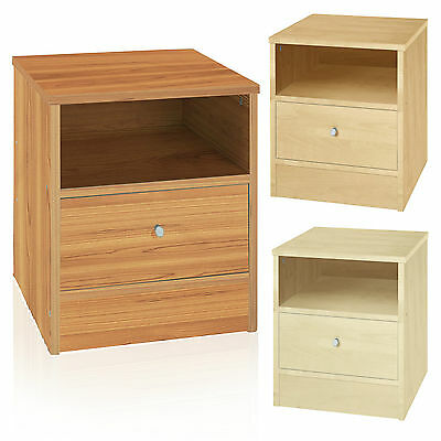 Malibu 1 Drawer Bedside Chest Table Draw Shelf Wood Effect Cabinet Night Stand