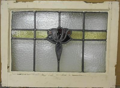 "MID SIZED OLD ENGLISH LEADED STAINED GLASS WINDOW Amazing Floral 22"" x 16.5"""