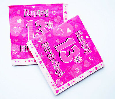 Happy 13th Birthday Paper Napkins 16 Pack Girl Party Decorations Table Lunch