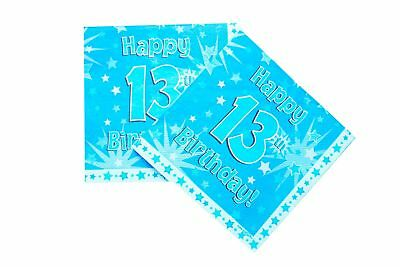 Happy 13th Birthday Paper Napkins 16 Pack Boy Party Decorations Table Lunch Male