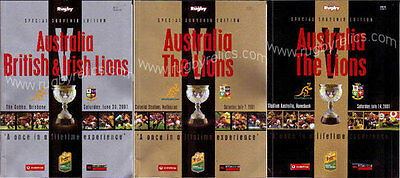 SET OF 3 AUSTRALIA v BRITISH LIONS 2001 TEST PROGRAMMES