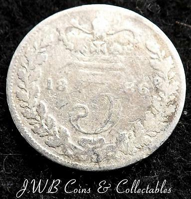 1886 Queen Victoria Silver 3d Threepence Coin - Great Britain