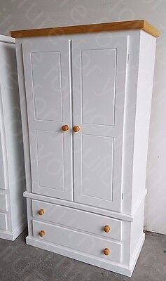 Hand Made Berkeley White 2 Drawer Wardrobe With Pine Trim Ready Assembled. Sale.