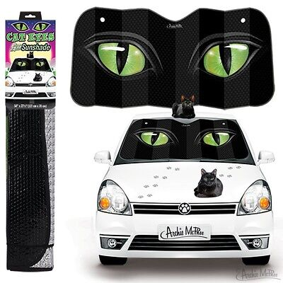 "New Crazy Cat Lady Black Cats Kitten Green Eyes 50"" by 27.5"" Auto Sunshade"