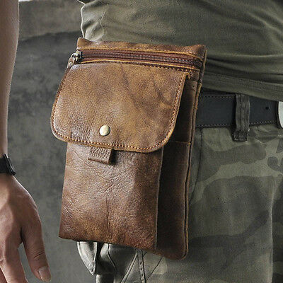 Men Vintage Leather Shoulder Bag Travel Hiking Belt Waist Bag Fanny Pack Pouch