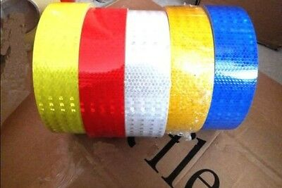"1M 2"" 5cm Reflective Safety Warning Conspicuity Tape Film Sticker Silver Red"