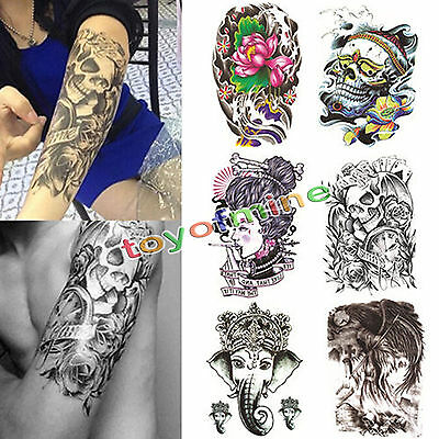 Grand tatouage temporaire Arm Body Art Tattoo amovible étanche autocollant