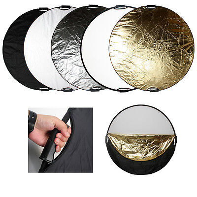 """43"""" 5 in1 110cm Photography Light Multi Collapsible Disc Reflector & Handle Grip"""