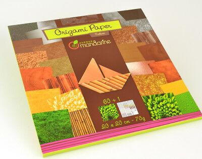 60 Nature Origami Paper Sheets - 20cm Square | Origami Paper Packs