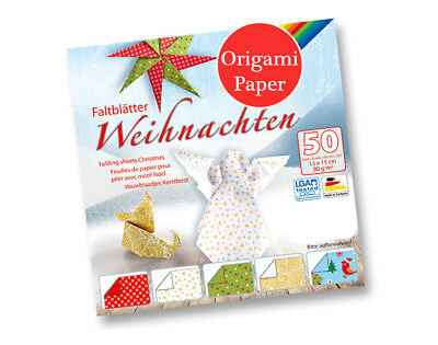 50 Sheets Square Christmas Print Origami Paper - 15cm | Origami Paper Packs