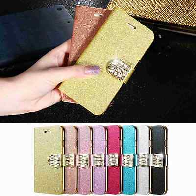 Leather Wallet Bling Diamond Cover Case Card Slot Stand Holder For iPhone 7/Plus