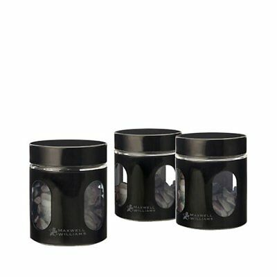 NEW Maxwell & Williams Cosmopolitan Colours Canisters 600ml Set of 3 Black