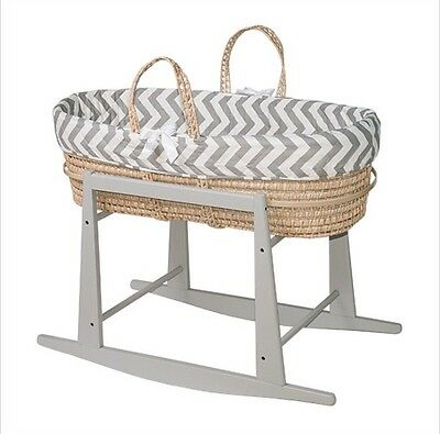 Jolly Jumper White Rocking Basket Stand with Ivory Moses Basket and Bedding Set
