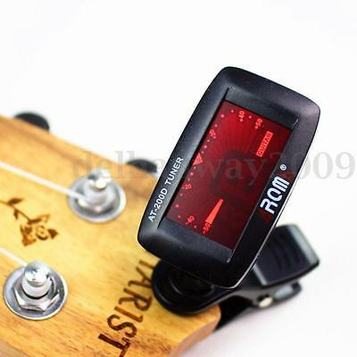 AROMA AT-200D Clip on Backlight LCD Chromatic Tuner for Ukulele Guitar Bass