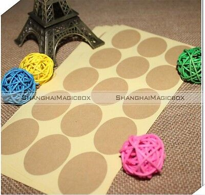 120pcs Round Blank Stickers Kraft Paper Label Envelope Seals Food Label S8