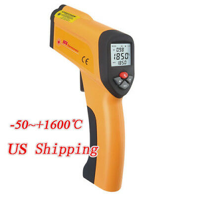 Non-Contact IR Infrared LCD Laser Temperature Thermometer Meter -50~+1600℃