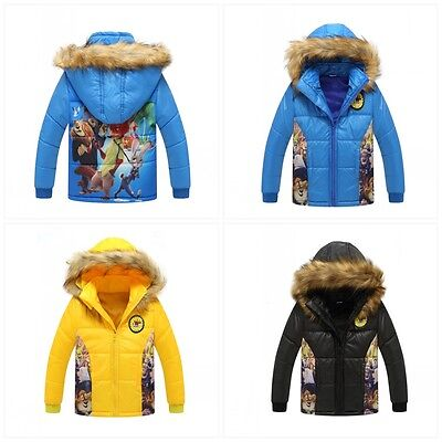 Boys Kids Cartoon Wadded Jacket Cotton-padded Child Clothes Coat Hooded Outwear