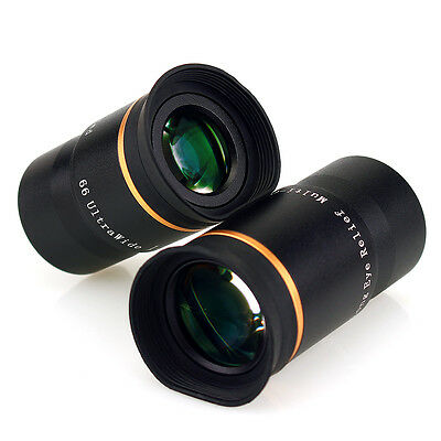"New 1.25"" F15mm/20mm FMC Ultra Wide 66° Telescope Eyepiece Set Kit for Astronomy"