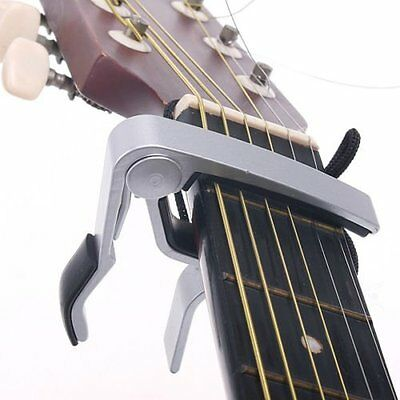 Silver Acoustic Electric Guitar Metal Quick Change Trigger Tune Key Capo Clamp