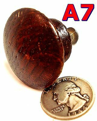 "Antique 1/4 Sawn Oak DRAWER KNOB Victorian pull 1 1/2"" Diameter Orig Finish *A7*"