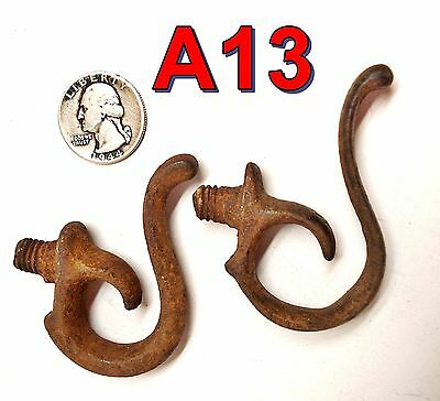 2 Antique Steel Trigger Guard Door Handles/Coat Hooks rat rod gun cabinet*A13*