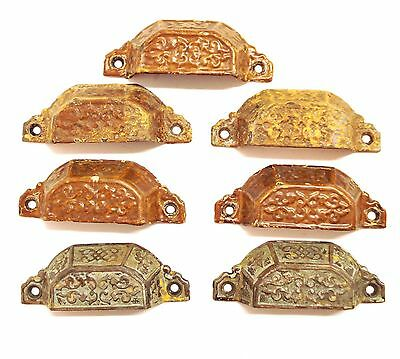 "7 Antique Eastlake Victorian Cast Iron BIN PULLS 4-1/4"" cabinet drawer handle*S5"