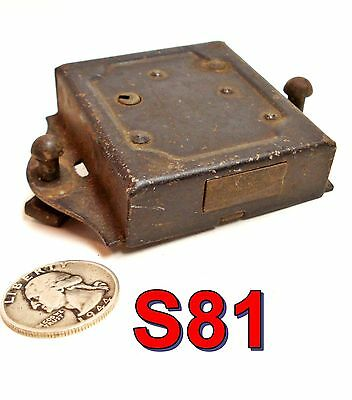 Antique Steel RIM BOX LOCK Cabinet Style NO KEY *S81*
