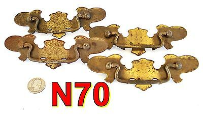 4 Vintage Dresser Drawer Pulls brass plated handles *N70
