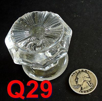 Antique 1800's GLASS KNOB furniture door/drawer pull flint sandwich empire *Q29*