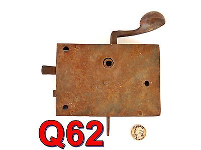 Early 1800s Antique DOOR LATCH Rim Box Lock flat handle wrought iron AS-IS*Q62*