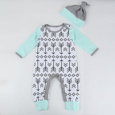 Newborn Baby Boy Girl Infant Warm Cotton Romper Jumpsuit Bodysuit Clothes Outfit