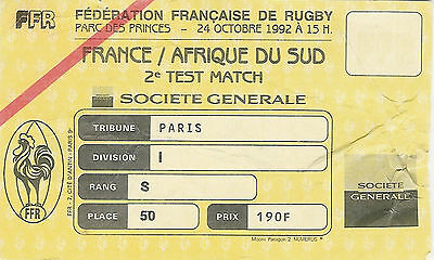 France v South Africa - 2nd Test 24 Oct 1992 Paris RUGBY TICKET