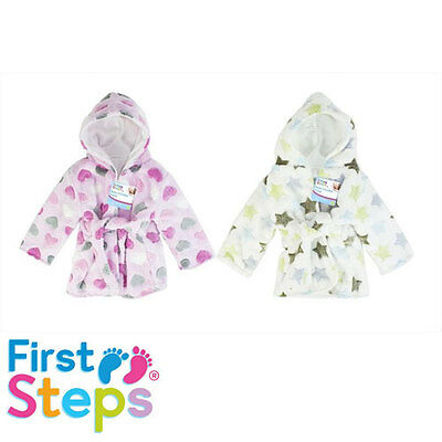 "Baby Boy Girl Bath Robe ""hearts"" ""stars"" Hooded Dressing Gown 6-18M"
