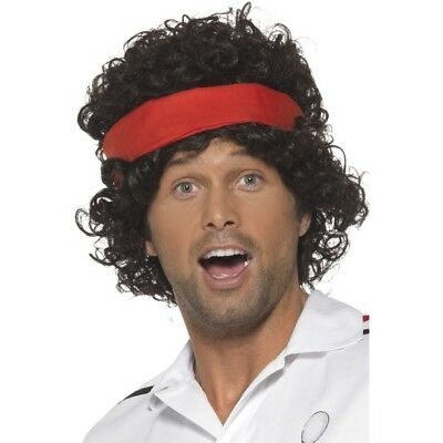 80s Tennis Player Mens Fancy Dress Wig Brown Athletes Wig New