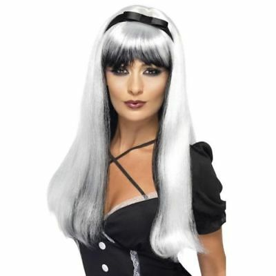 Long Black And Silver Halloween Wig Bewitching Witches Wigs Fancy Dress