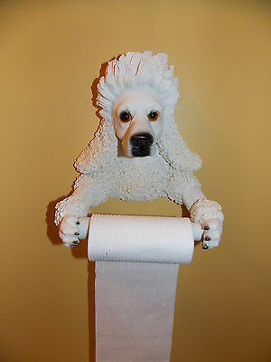 New Poodle Dog Puppy Bathroom Toilet Paper Holder Wall Hanging Figure Statue
