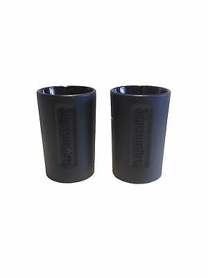 Jagermeister - 2 shot glasses - 2cl - black glass/ relief logo - LIMITED! - NEW