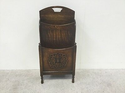 Antique Oak Magazine Rack Waterfall Design Very Rare To Find