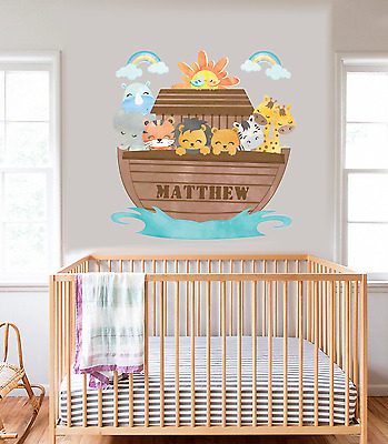 Personalised Noah S Ark Boat With Name Wall Art Sticker Decal Nursery Bedroom