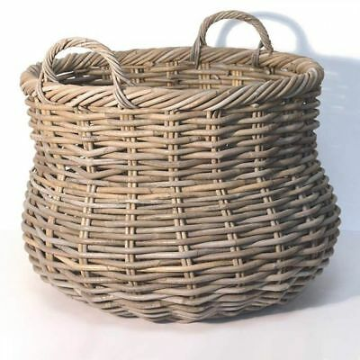 Fireside Alibaba Round Wicker Log Toy Basket - Large, Grey