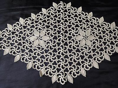 Vintage Handmade Cotton Crochet Ecru Floral Rhomboid Tablecloth