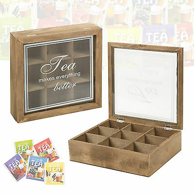 Wooden Tea Box 9 Compartments Hinged Glass Lid Tea Bag Home Kitchen Storage Box