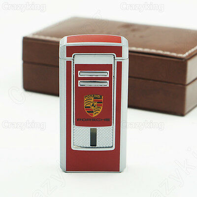 COHIBA Luxury Red Metal 3 TORCH JET FLAME CIGAR CIGARETTE LIGHTER With PUNCH