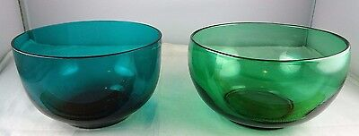 Pair of Antique Crystal Glass Finger Bowls Bristol Green & Teal