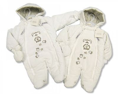 Baby Boy Girl Neutral Peek A Boo Teddy Design Snowsuit Pram Suit by Nursery Time