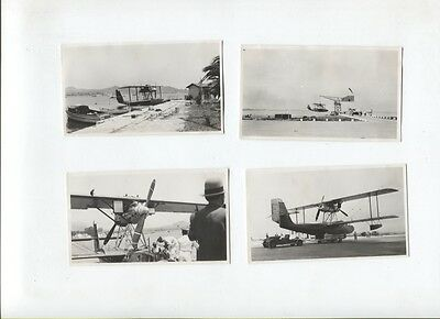 N°9251  / 4 photos d'amateur hydravion à l'embraquement 1935 environ