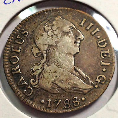 Spain 1788 Carolus Iii Silver 2 Reales Scarce Coin Sevilla Mint