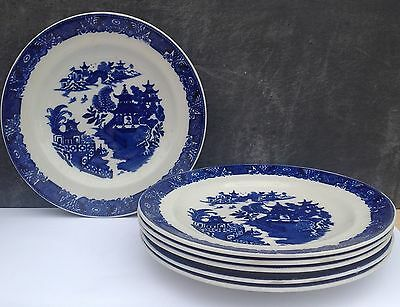 Royal Worcester blue & white willow pattern dinner plates x6 27cm early 1900s?